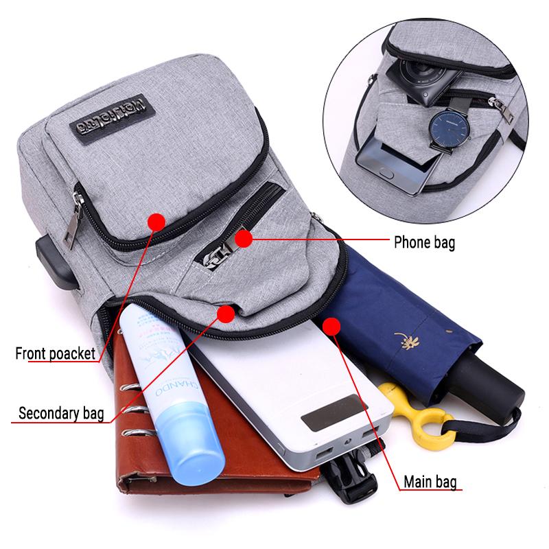 Sling Bag Shoulder Backpack with USB Port - Light Gray